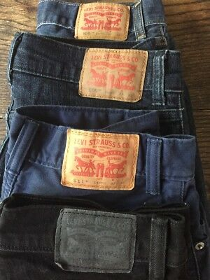 Lot 4 pairs Levi's jeans pants 27x27 black blue 511 505 cotton sz 14 regular EUC