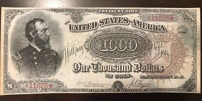 Reproduction $1,000 United States Treasury Note 1890 Civil War Meade Currency