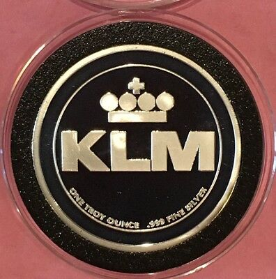 KLM First Airline Of The World Proof Coin 1 Troy Oz .999 Fine Silver Rare Round