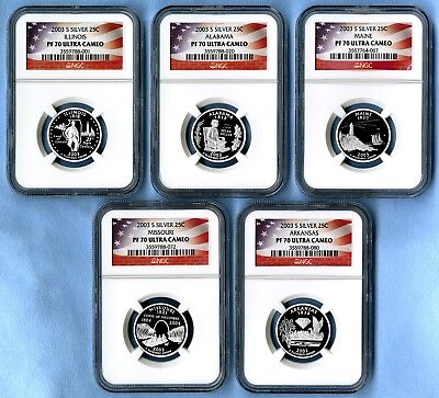 2003 S Silver State Quarters Set NGC PF70 Ultra Cameo (Flag labels)