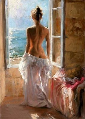 ZWPT126 modern nude girl seascape 100% hand-painted oil painting decor on Canvas