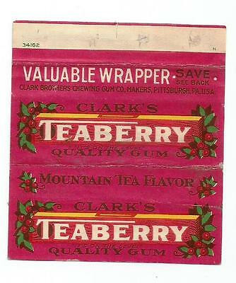 Vtg 1930's Clark Teaberry Chewing Gum Wrapper