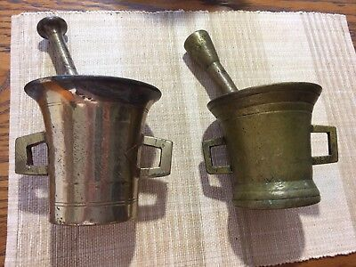 2 Vintage Apothecary Heavy Brass or Bronze? Pharmacy Medicine Large