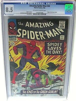 Amazing Spider-Man #40 Cgc Graded 8.5 Origin Of Green Goblin Marvel Comics 1966