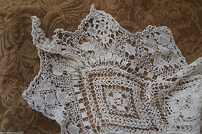 Antique French hand embroidered and knotted filet lace cover or cloth