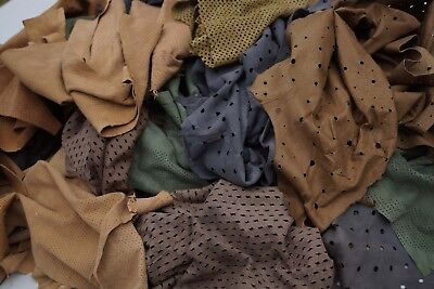 Assorted Perforated Suede Garment soft lambskin 2 - 3 hands Scrap leather pieces
