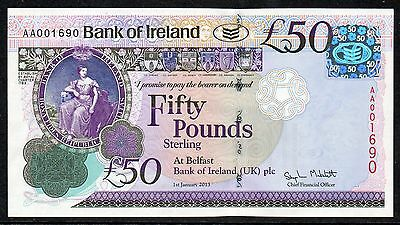 Bank of Ireland £50 note - UNIQUE NUMBER - AA001690 - Battle of the Boyne 1690