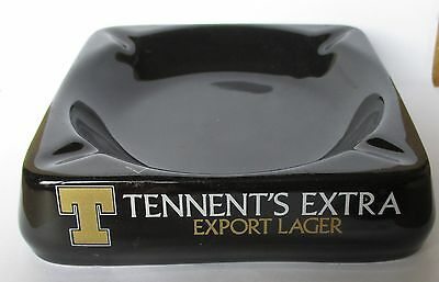 Tennents Extra Lager Beer black large glazed ceramic cigarette ashtray by WADE