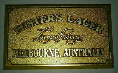 Fosters Lager Beer Australia original gold look plastic wall hanging sign