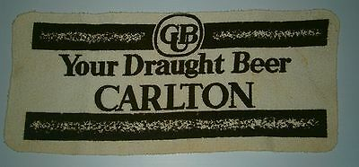Carlton Draught Beer terry towel pub drink mat runner for home bar collector