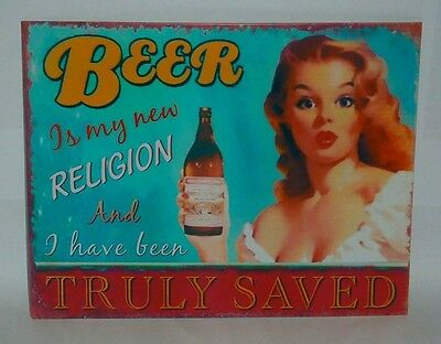 Beer is a Religion new metal tin wall sign plaque for home bar pub collector