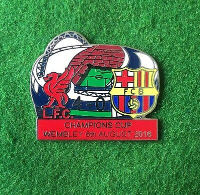Liverpool V Barcelona , Badge , Champions Cup Wembley , 6th August 2016 .