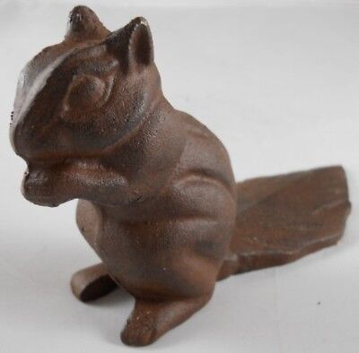 Decorative Door Stopper Cast Iron Squirrel Rustic Home Furniture Vintage Brown