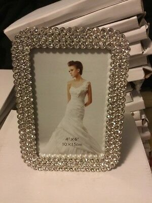 """Elegant Silver, Crystal Rect photo frame. 4"""" x 6"""" . New still in boxes"""