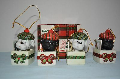 """""""scottie In A Box"""" Scottish Terrier Christmas Ornaments Set Of 4"""