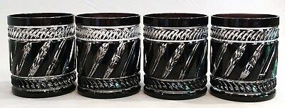 4 Fabergé Marie Louise Black Cased Cut To Clear Crystal Dof Rocks Glasses