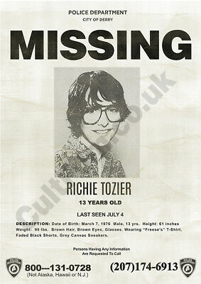 Stephen King's It 2017 Richie Tozier Missing Poster A4 A3 Pennywise Art Print