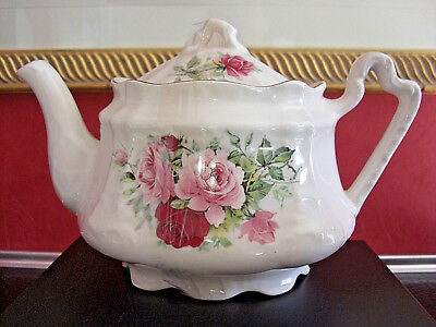Arthur Wood Shabby Chic Pink & Red Roses Tea Pot # 6304 Made in England Ref G3