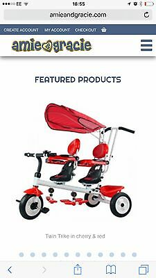 kids twin tricycle  3 wheels  double seats puschair pram kids trikes