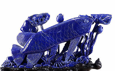 "22.4""Lapis Lazuli Carved Crystal Fish & Crystal Lotus Sculpture Home Decor #AB79"