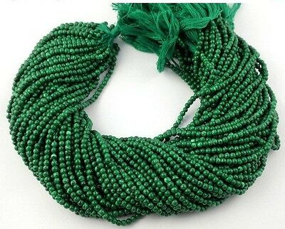 "5 Strands Malachite Gemstone Rondelle Balls 3mm 12"" Long Smooth Jewelry Beads"