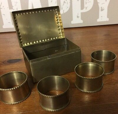 Unusual Brass Box Containing Four Napkins ~ Made In India