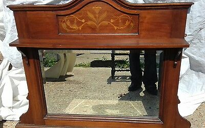 Art nouveau overmantle beautifull inlay clear beveled glass attractive frame