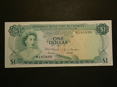 Bahamas Monetary Authority 1968, One Dollar $1, Circulated  EF- AU #G7704