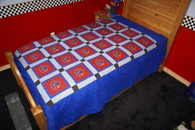 Handmade Patchwork Quilt Vancouver Canucks Quilt 68 X 86 Twin Double NEW Bedding