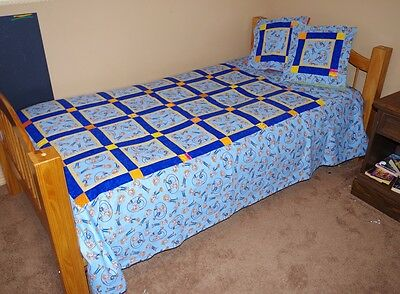 Handmade Patchwork Quilt Toy Story Woody Blue  68 X 86 Twin Double NEW Bedding