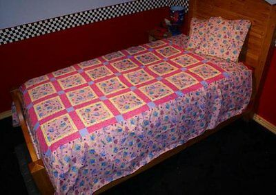 Handmade Patchwork Quilt Pink Dumbo Elephant 68 X 86 Twin Double NEW Bedding