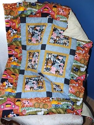 Handmade Patchwork Farm Animals Barn Horse Baby Quilt Cotton Blanket Unique NEW