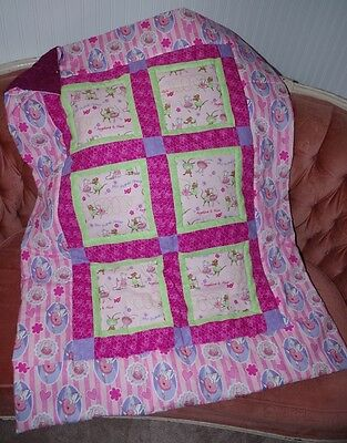 Handmade Angelina Ballerina Pink Baby Quilt Cotton Blanket Unique NEW