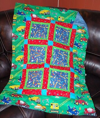 Handmade Patchwork Construction Mighty Machine Baby Quilt Cotton Blanket Unique