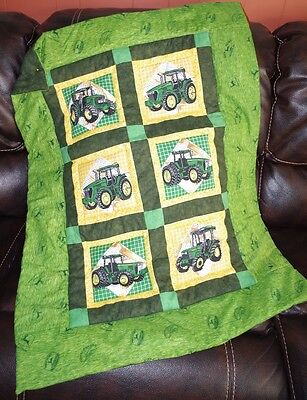 Handmade Patchwork John Deere Tractor Baby Quilt Cotton Blanket Unique NEW