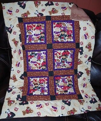 Handmade Patchwork Cocoa BOYDS Bear Beige Baby Quilt Cotton Blanket Unique