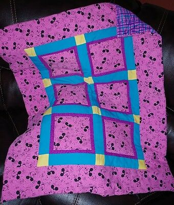 Handmade Patchwork Pink 80's Mickey Mouse Girl Baby Quilt Cotton Blanket Unique