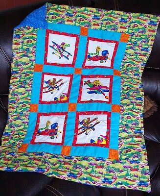 Handmade Patchwork Things That Go Plane Car Baby Quilt Cotton Blanket Unique NEW