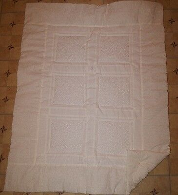 Handmade White on White Baptism Christening Baby Quilt Cotton Blanket Unique NEW