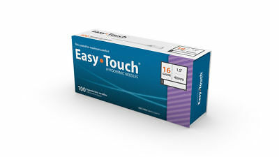 """Easy Touch-High Quality Sterile Hypodermic Needles 16 G x 1.5"""" (40mm) 100 Box"""