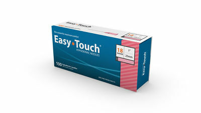 "Easy Touch-High Quality Sterile Hypodermic Needles 18 G x 1"" (25mm) 100 Box"