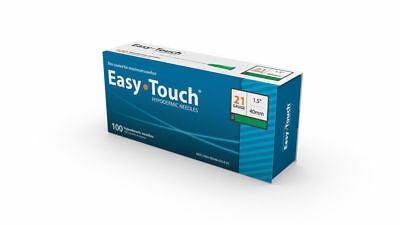 "Easy Touch-High Quality Sterile Hypodermic Needles 21 G x 1.5"" (40mm) 100 Box"