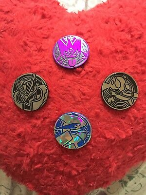 Pokemon Card Battle Coins Set Of 4 - Rayquaza, Lugia, Kyogre And Gengar TCG Lot
