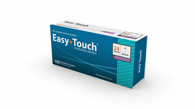"""Easy Touch-High Quality Sterile  Hypodermic Needles 24 G x 1"""" (25mm) 100 Box"""