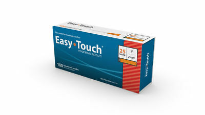 "Easy Touch-High Quality Sterile Hypodermic Needles 25 G x1"" (25mm) 100 Box"