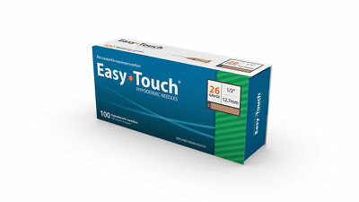 "Easy Touch-High Quality Sterile Hypodermic Needles 26 G x 1/2"" (12.7mm) 100 Box"