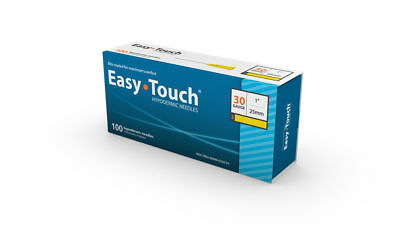 """Easy Touch-High Quality Sterile Hypodermic Needles 30 G x 1"""" (25mm) 100 Box"""