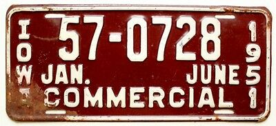 Vintage Iowa 1951 1/2-Year Commercial Truck License Plate, Garage Sign, Antique