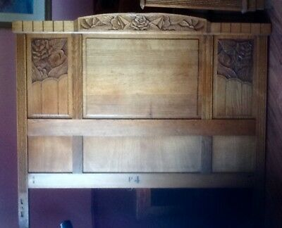 Antique carved Oak French art deco style double headboard/footboard bed