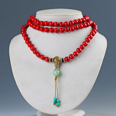 Natural Red Coral & Brass Handwork Necklaces & Pendant Chinese